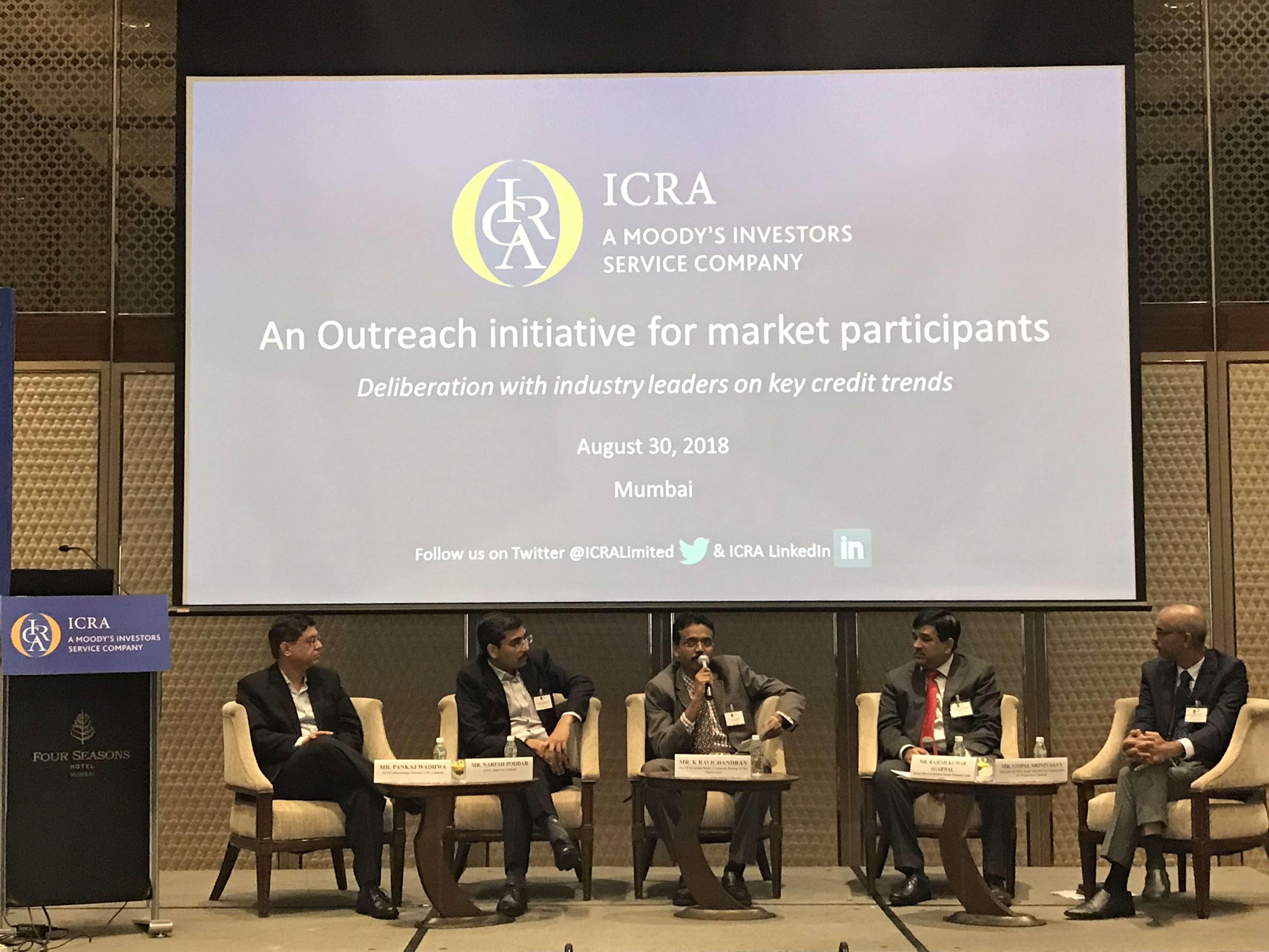 Panel Discussion 3 - Mr. Pankaj Wadhwa, Sr.VP (Marketing), Petronet LNG Limited; Mr. Naresh Poddar, CFO, Adani Gas Limited; Mr. K Ravichandran, Sr. VP & Group Head Corporate Ratings ICRA (Moderator); Mr. Rajesh Kumar Agarwal, Senior Director, Deloitte India LLP; Mr. Gopal Srinivasan, Director & CFO, Essar Oil and Gas Exploration & Production Limited having an intriguing discussion on 'Challenges in dealing with high oil prices' at the ICRA Conference on Oil & Gas Sector in Mumbai.