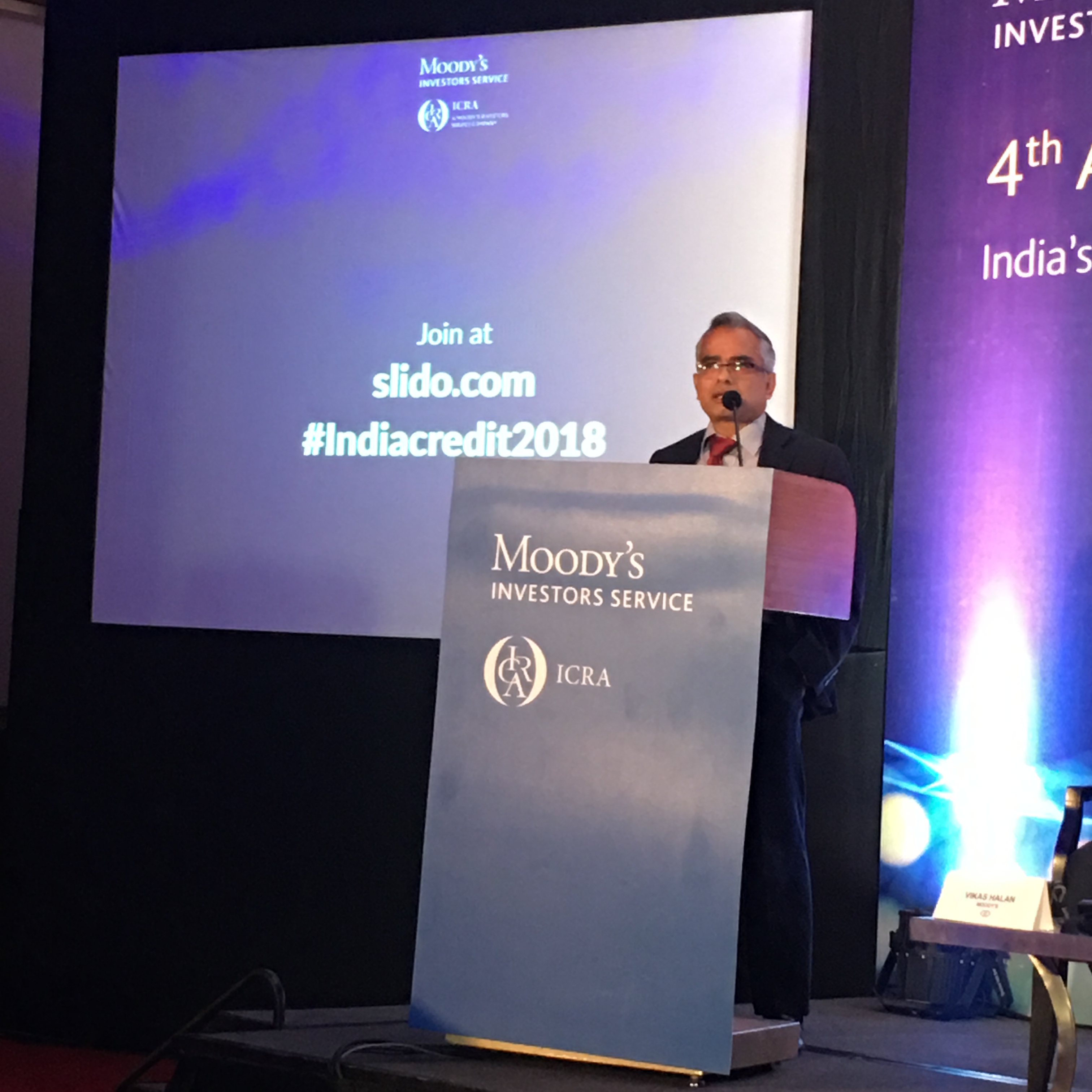 Subrata Ray, Senior Group Vice President, ICRA Ltd presenting on tracking credit trends for Indian non-financial corporates at Moody's ICRA 4th Annual India Credit Conference in Mumbai.