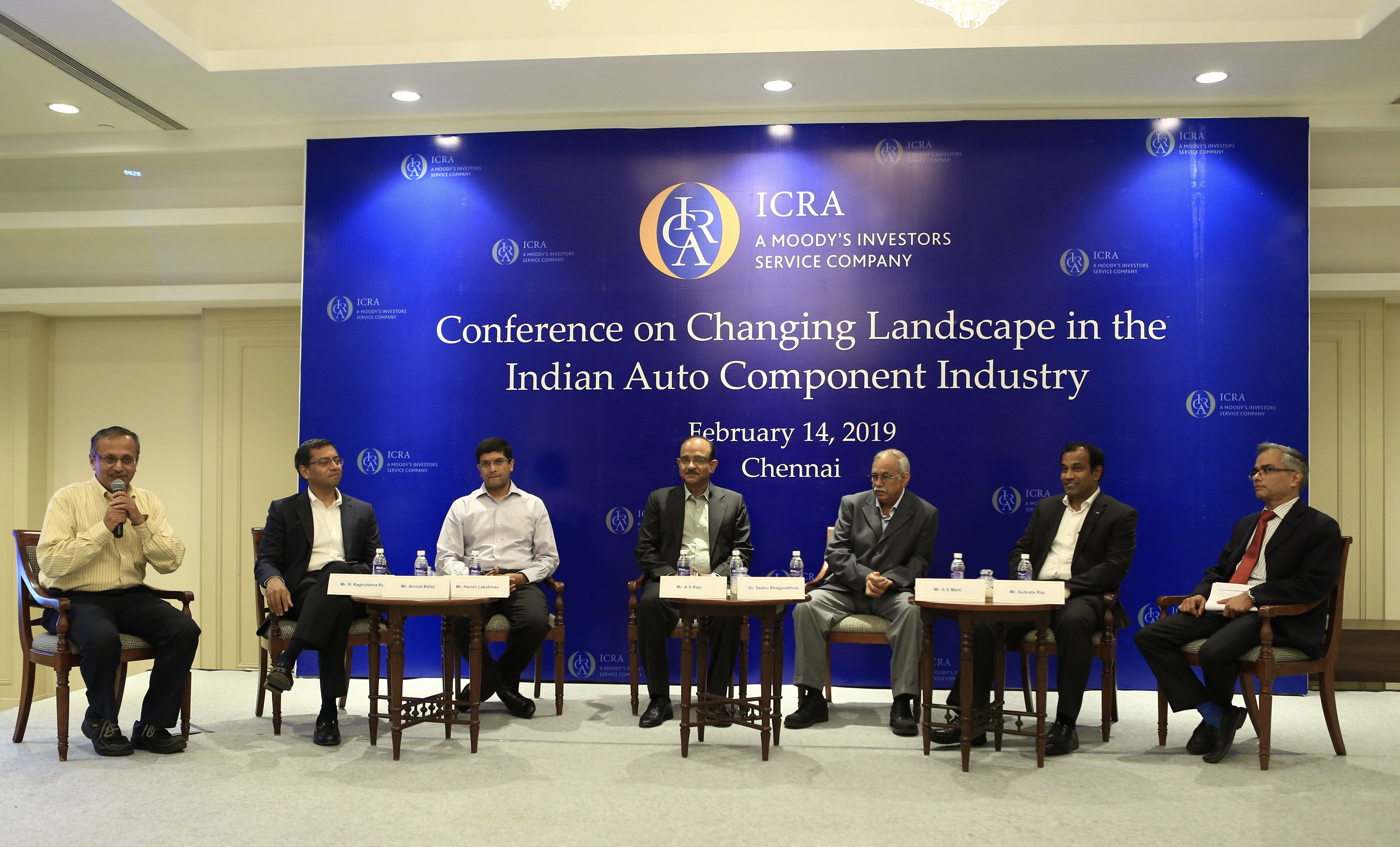 (L-R) Mr. R. Raghuttama Rao (Moderator), Mr. Arvind Balaji, Mr. Harish Lakshman, Mr. A.S. Raju, Dr. Seshu Bhagavathula, Mr. S.G. Mani, Mr. Subrata Ray in an intriguing panel discussion during Conference on 'Changing Landscape in the Indian Auto Component Industry' in Chennai