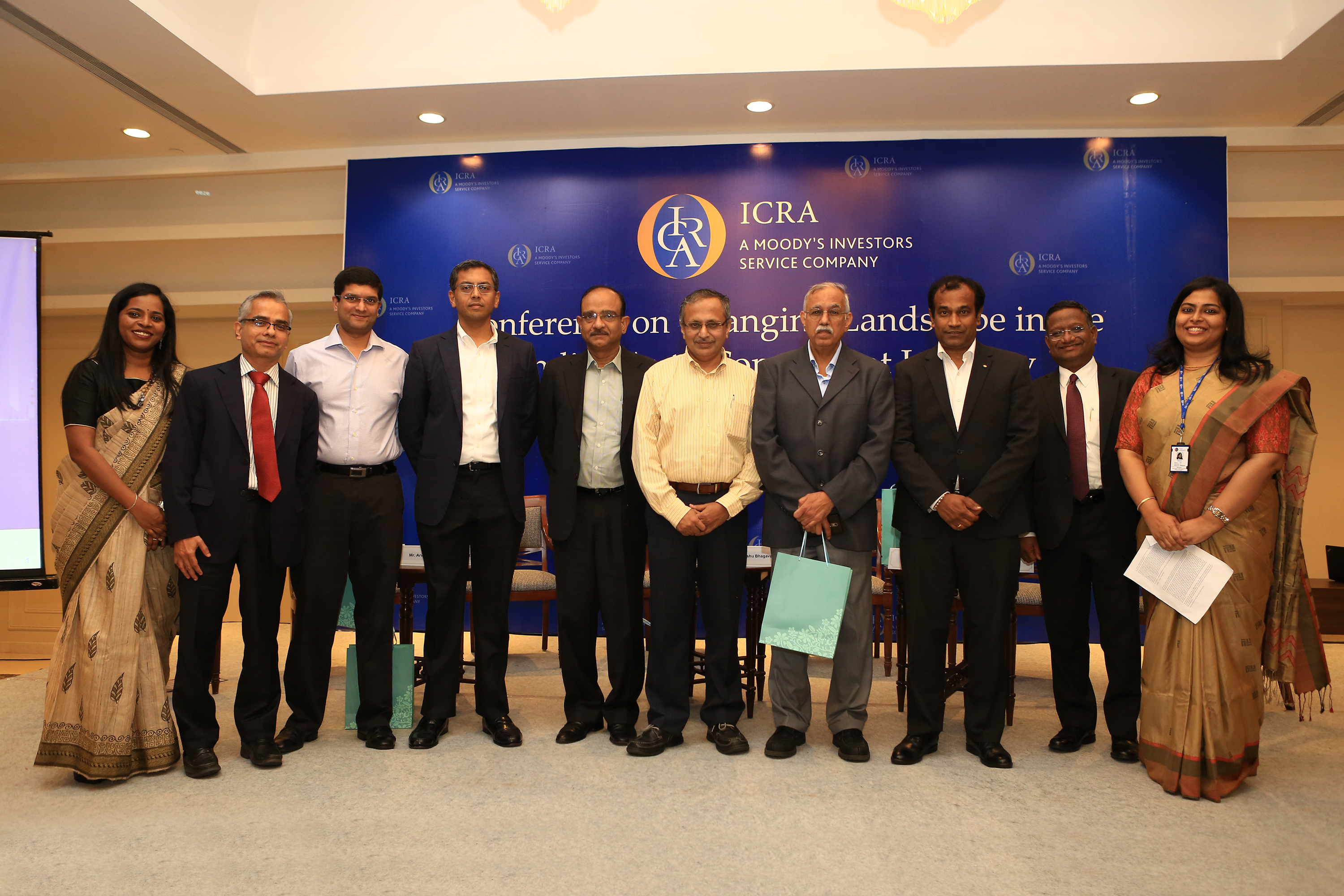 ICRA speakers along with panellists during the conference on Indian Auto Component Industry at Taj Connemara