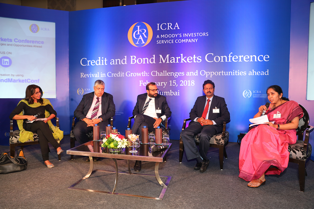Bama Balakrishnan, CFO, IFMR Capital speaking at the session on 'Can the bond market sustain its momentum?'. Other panelists (L-R) Ira Dugal, Banking and Finance Editor, Bloomberg Quint (Moderator); S Naren, ED & CIO, ICICI Prudential Asset Management Company Limited; Sharad Rungta, Head-DCM & Debt Syndication, HDFC Bank and Karthik Srinivasan, Senior Vice President and Group Head – Financial Sector Ratings, ICRA
