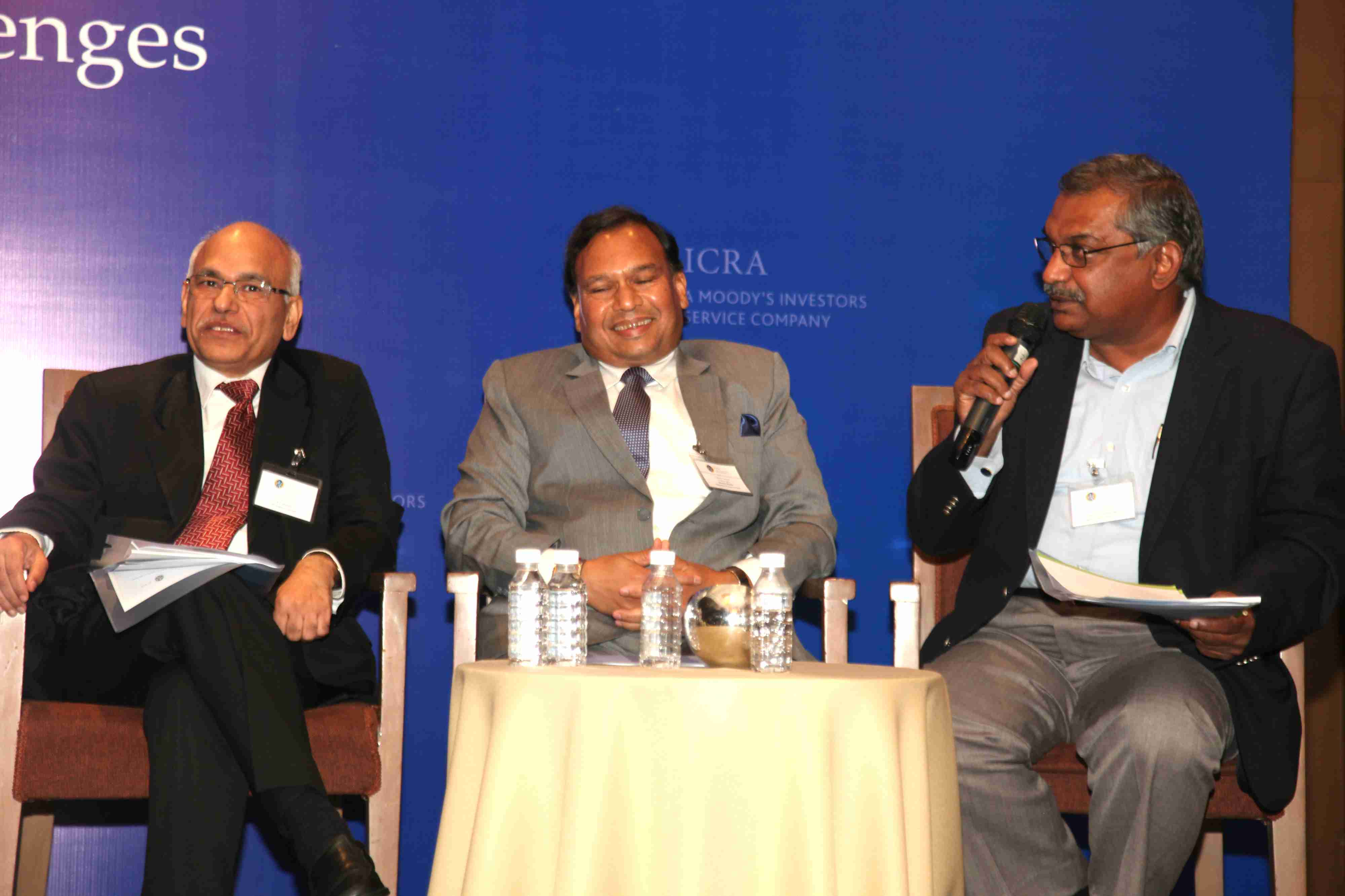 Panelists (L-R) P.C. Sharma, CEO and Director, TCI Express Ltd;  Sitaram Sharda , ED, Safexpress Pvt Ltd and Capt. T.S. Ramanujam, CEO, Logistics Sector Skill Council discussing 'Envisioning India's Logistics Sector: Moving from competition to collaboration'
